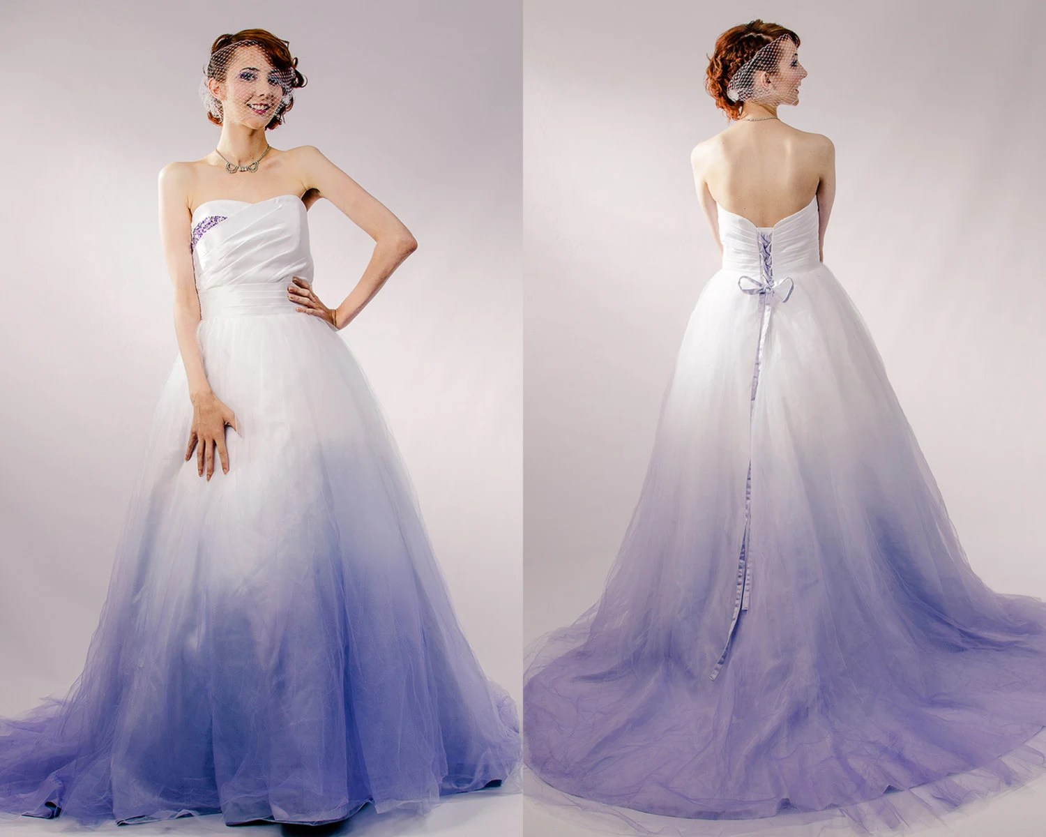 ombre wedding dress colorful wedding dresses Dip Dyed Wedding Dress Purple Ombre Wedding Dress Couture Wedding Gown Colored Wedding Dress