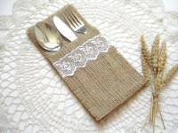 Set of 50 Burlap Silverware Holder wish white lace Table
