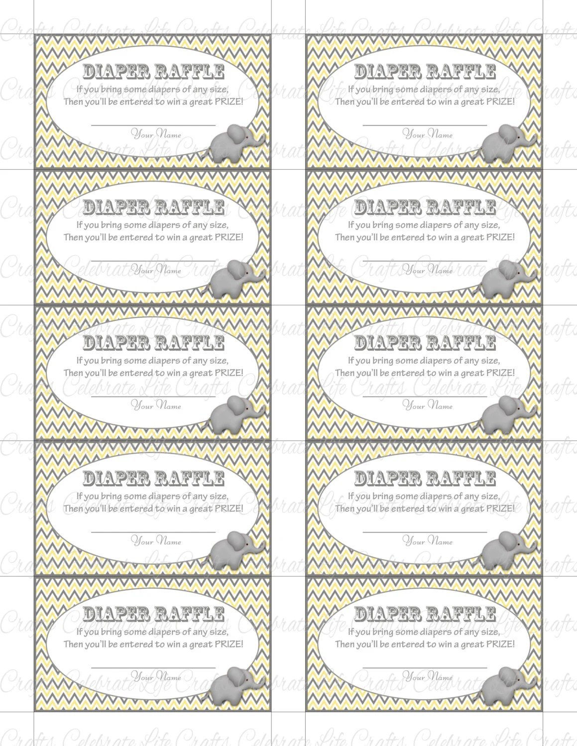 Printable Diaper Raffle Tickets Baby Shower - Instant Download - raffle ticket prizes