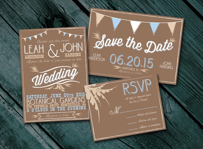 Rustic Wedding Invitation Package Digital By Theprintinggent