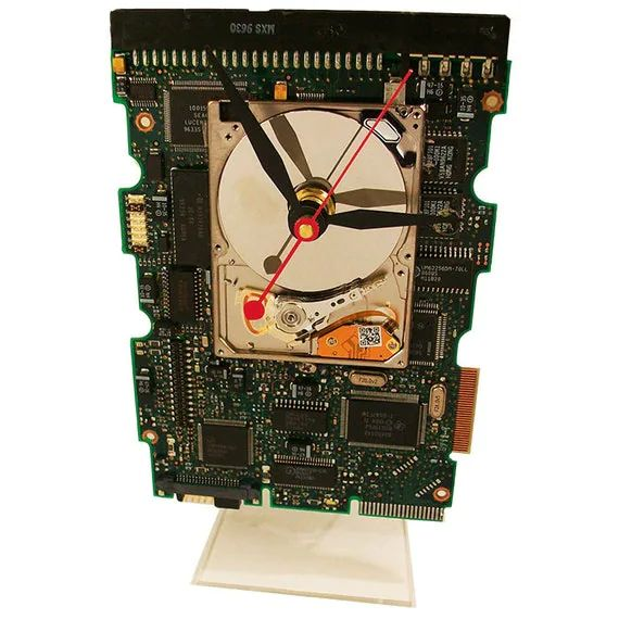 unique circuit board alarm clock from a recycled apple computer