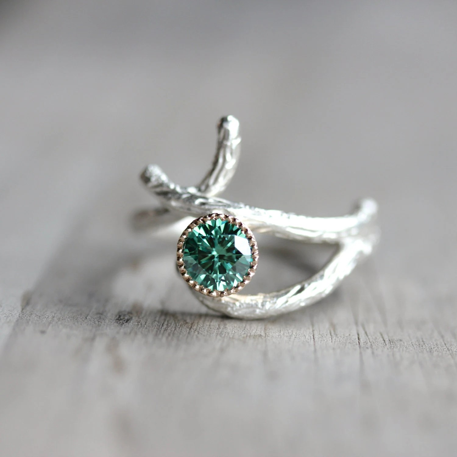 twig engagement ring branch wedding ring Silver 14K Yellow Gold Branch Engagement Ring Green Moissanite Woodland Tree Crossover Twig White Yellow Teal Unique Bridal Mossy Bark