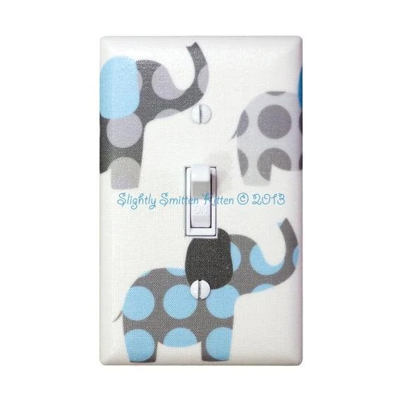 Light Blue and Gray Elephant Nursery Decor / Light Switch