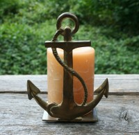 Brass Anchor Candle Holder Nautical Decor Beach House