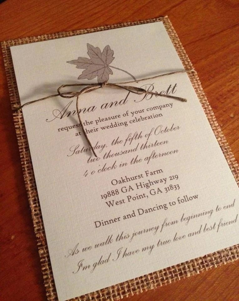 Burlap Wedding Invitationrustic Wedding Invitationfall