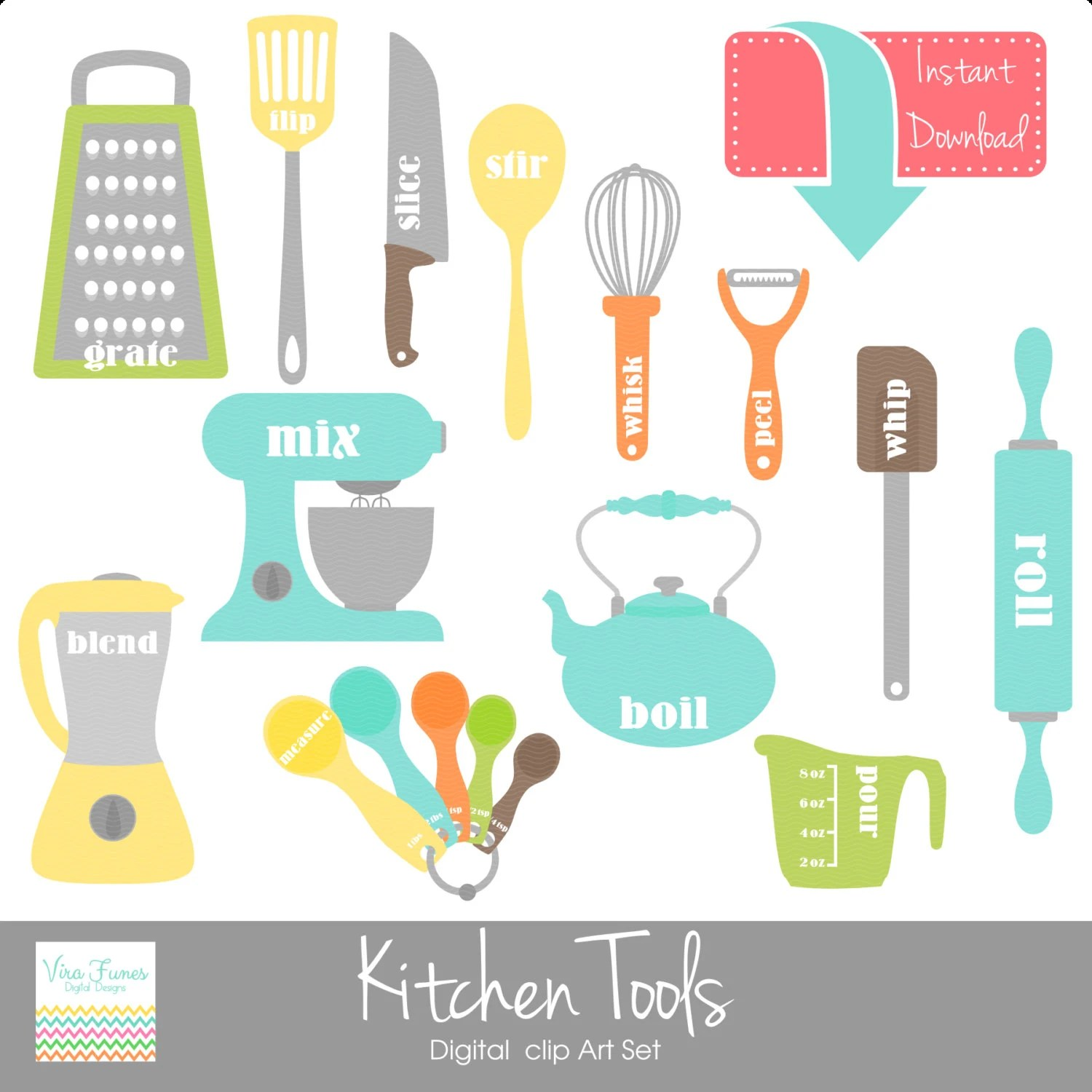 Pinke Küchenutensilien Kitchen Tools Digital Clip Art Clipart Collection