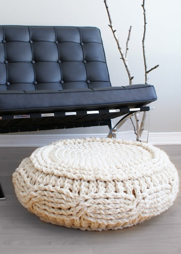 Ikea Alseda Diy Crochet Pattern Crochet Cable Footstool Cover By Midknits