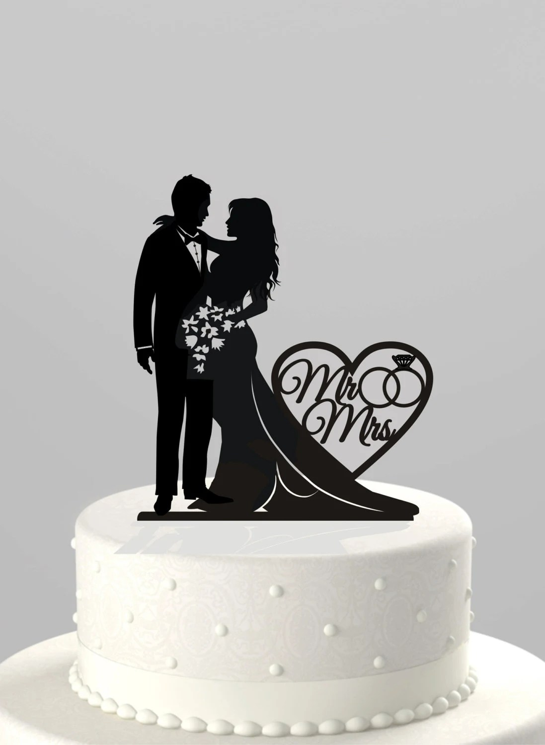 name cake topper wedding cake topper Wedding Cake Topper Silhouette Bride and Groom with Mr Mrs Acrylic Cake Topper CT66mm