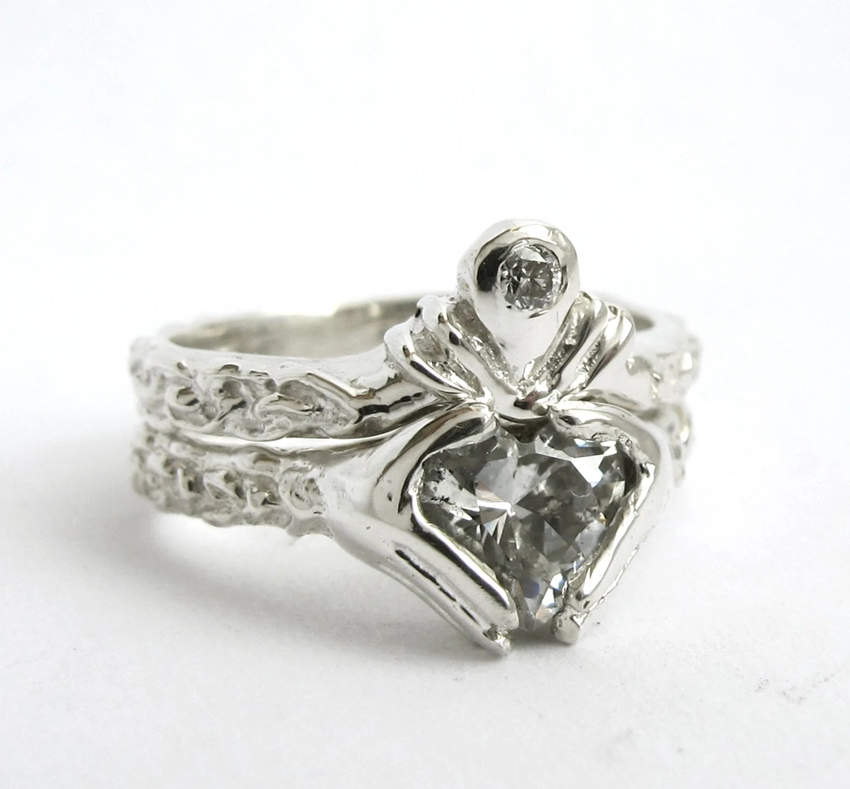 claddagh ring wedding set white gold and claddagh wedding ring set zoom
