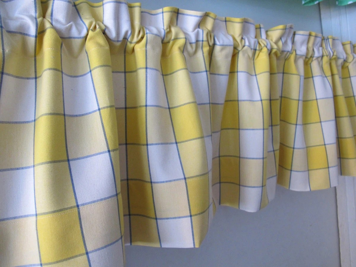 Kitchen Curtains For Yellow Walls Blue Yellow Window Pane Plaid Valance Whimsical Kitchen