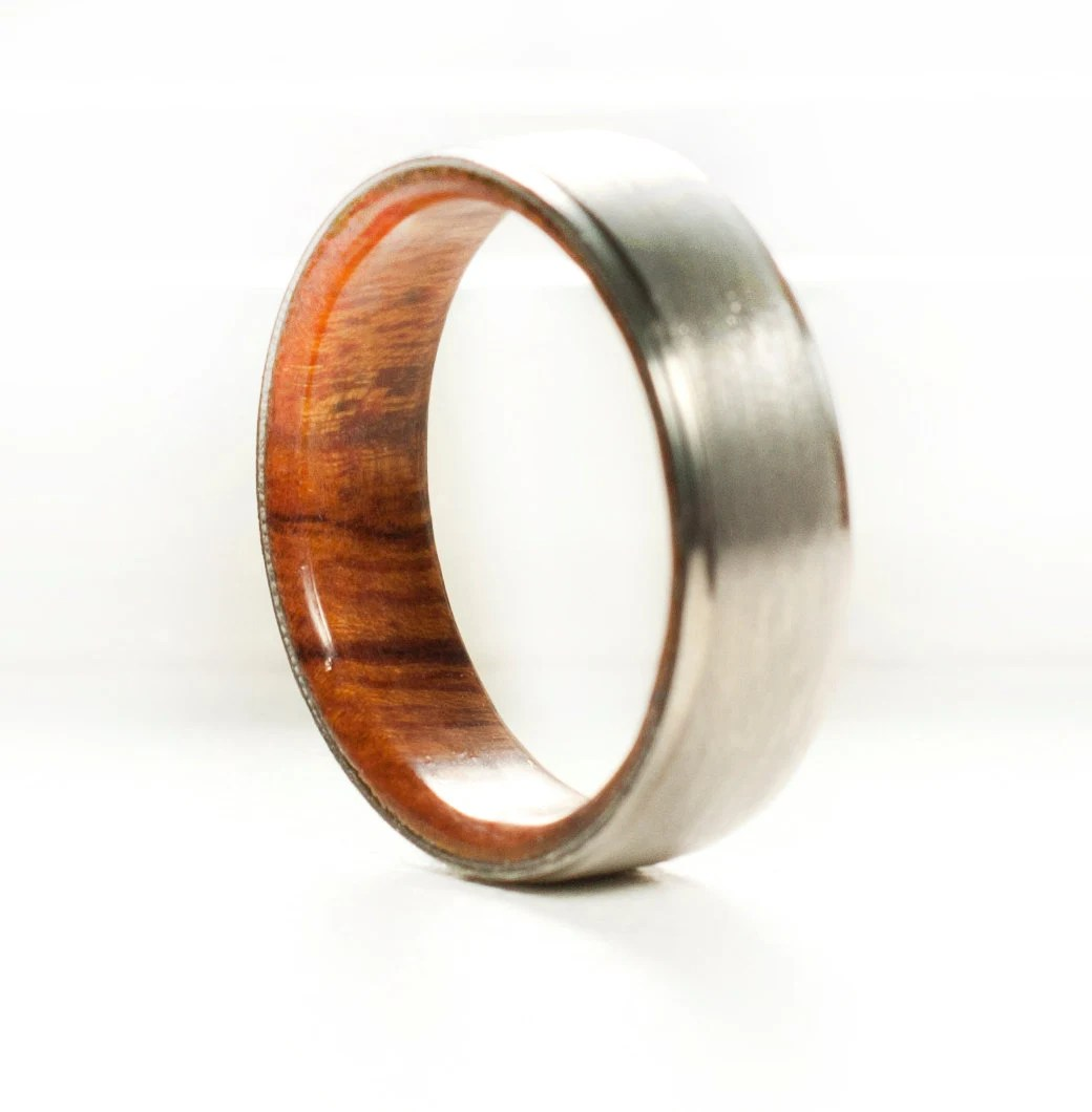 mens wedding band wood lined ring mens wooden wedding bands Mens Wedding Band Wood Lined Ring Staghead Designs zoom