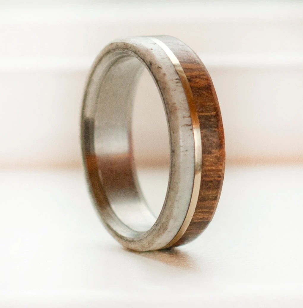 mens wedding bands rose gold inlay antler wedding ring Request a custom order and have something made just for you