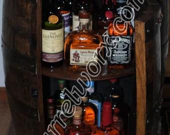 whiskey barrel display liquor cabinet with glass shelf & lazy