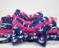 Navy Blue and Hot Pink Men's Bow Tie Summer Wedding