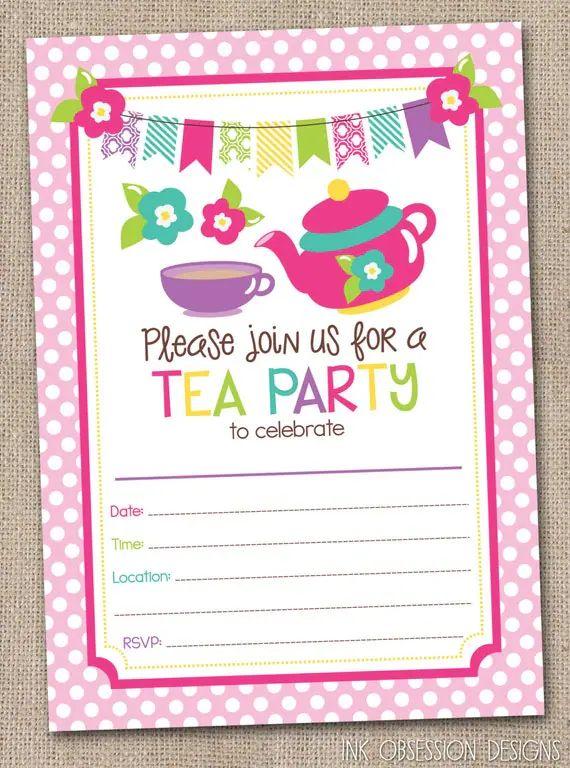 tea invitations printable