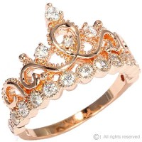 Rose Gold-plated Sterling Silver Crown Ring / Princess Ring