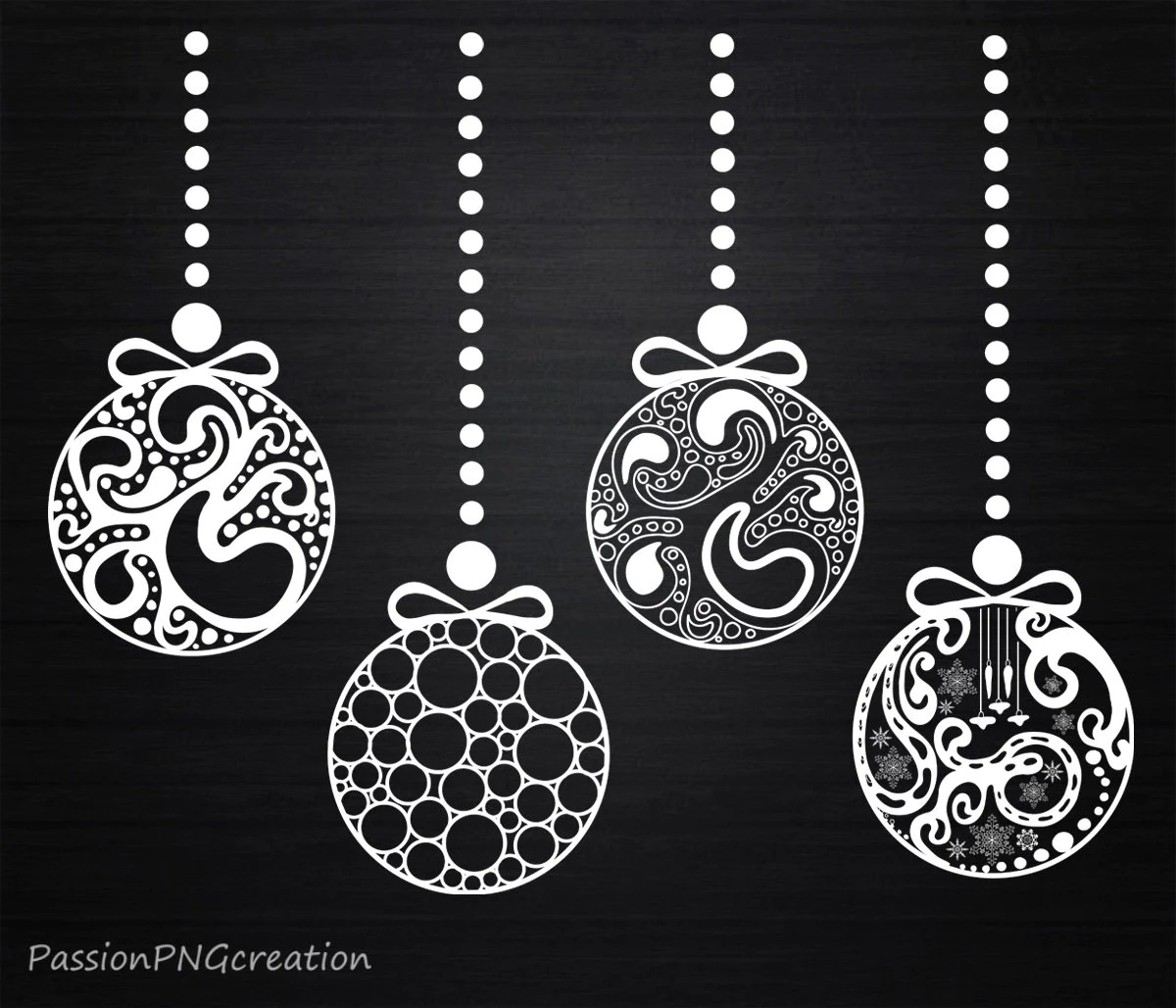 Christmas Ornament Clip Art Black And White Christmas Ornaments Clipart Decorations Xmas Vintage