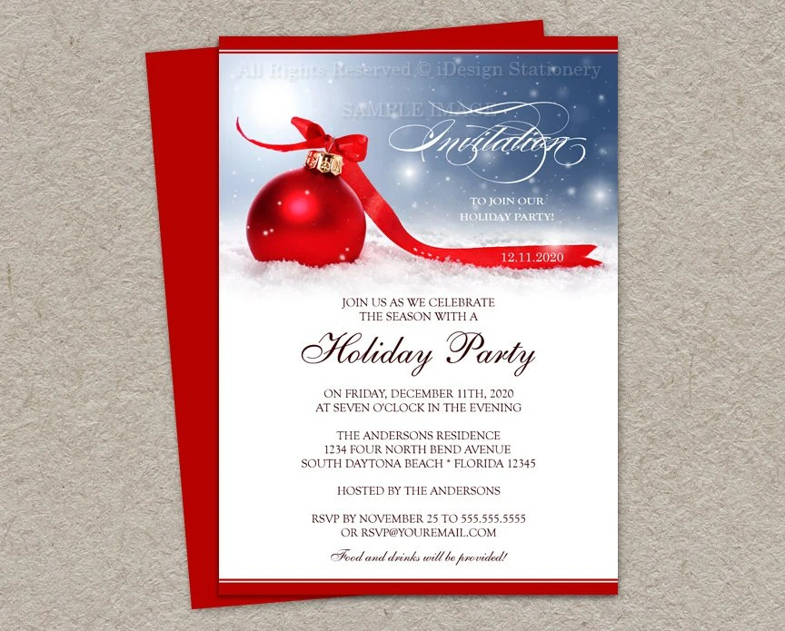 Holiday Party Invitations Diy Printable By Idesignstationery