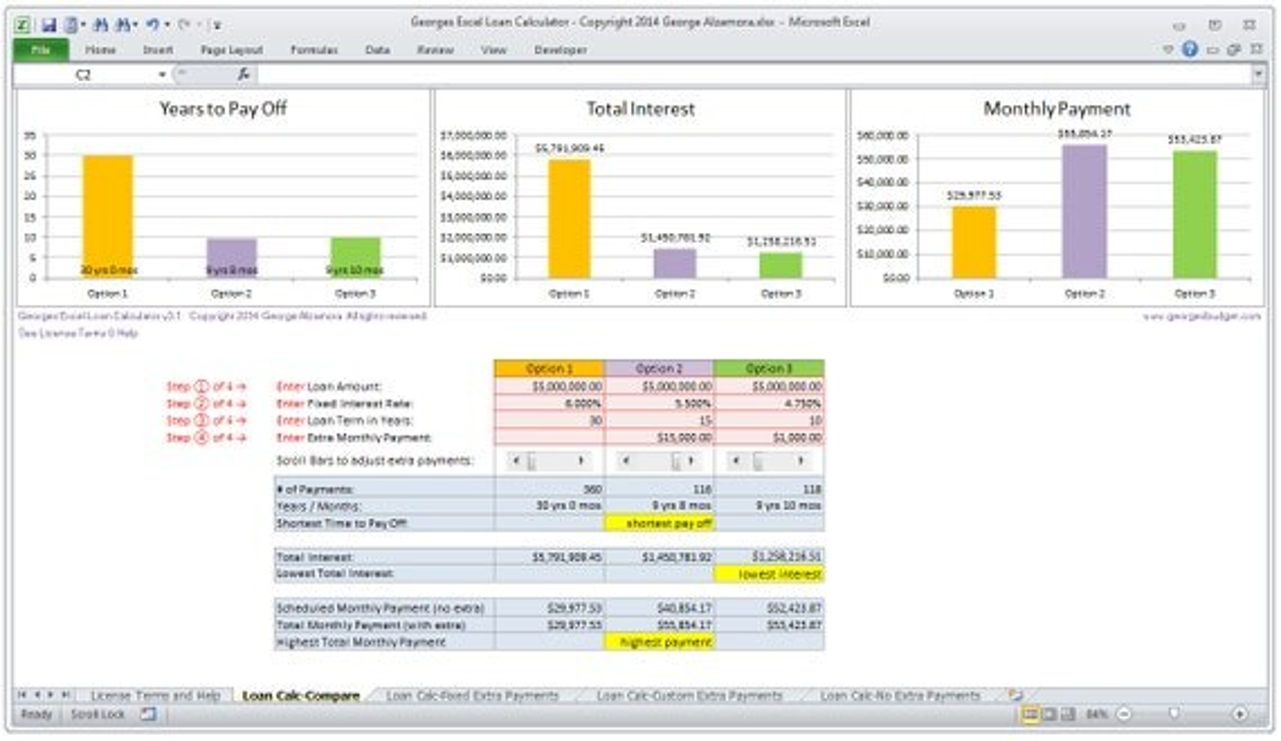 Excel Mortgage Calculator Home Loan Calculator Spreadsheet - mortgage calculator template