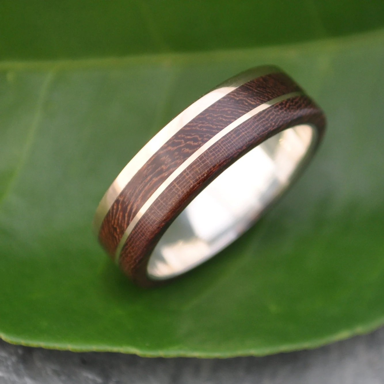 gold and silver un lado asi wood ring wooden wedding rings zoom