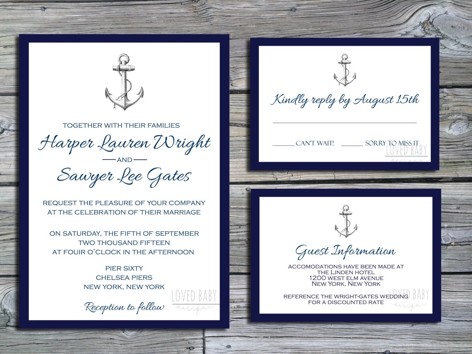 Nautical Wedding Invitation Package Diy By Lovedbabydesigns