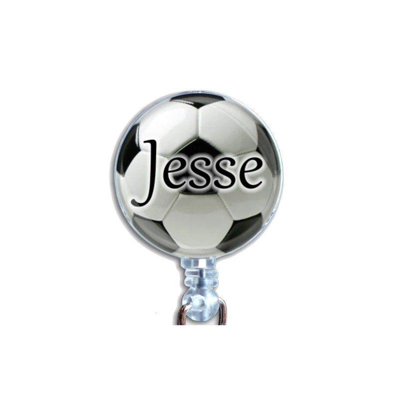 Personalized Soccer Ball Badge Holder Retractable Id Name Card