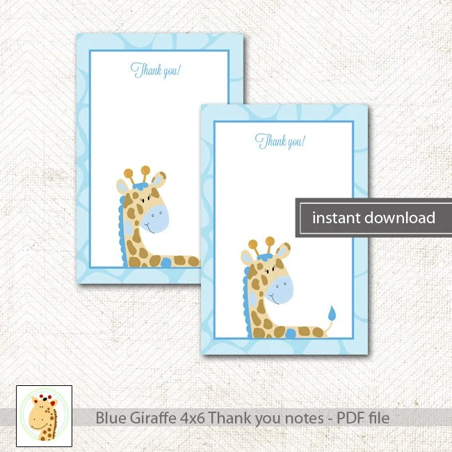 Blue Giraffe Baby Shower or Birthday Matching Flat Card Thank you