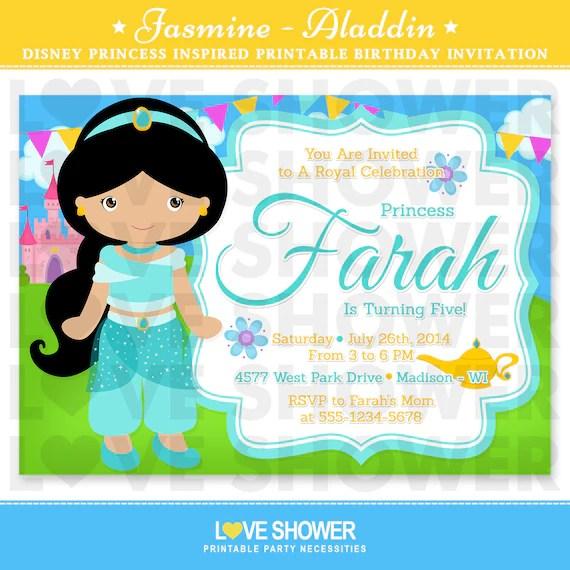 Princess Jasmine - Aladdin Inspired Birthday Invitation - 5x7 4x6