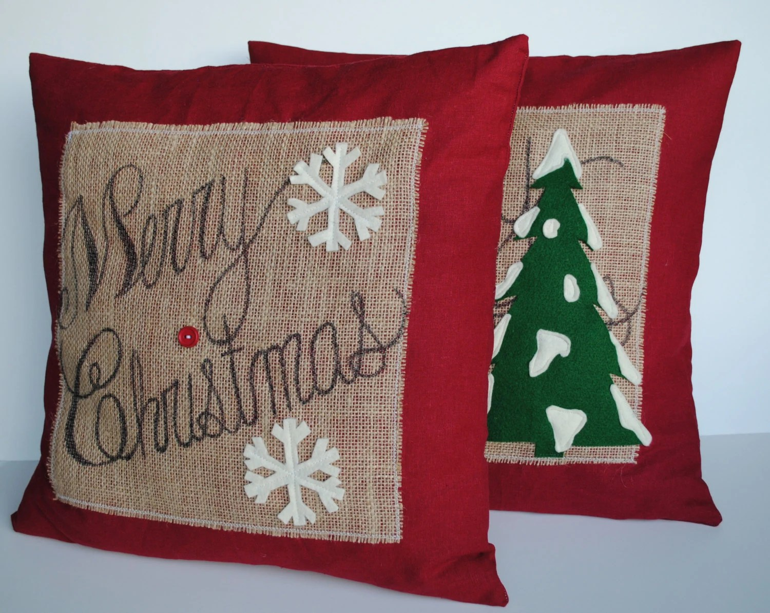 Cushion Covers Christmas Two 39merry Christmas 39 Tree Pillow Covers By