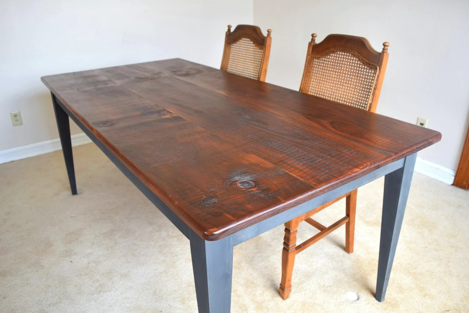 dining table rustic farm table farm style kitchen table Farm House Rustic Dining Table Farm Style Solid Pine Wood Kitchen Table
