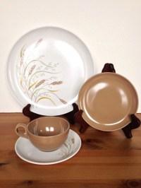 Set of 3 Melmac dinnerware vintage plastic place settings