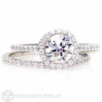 14K Diamond Halo Moissanite Engagement Ring Wedding Set