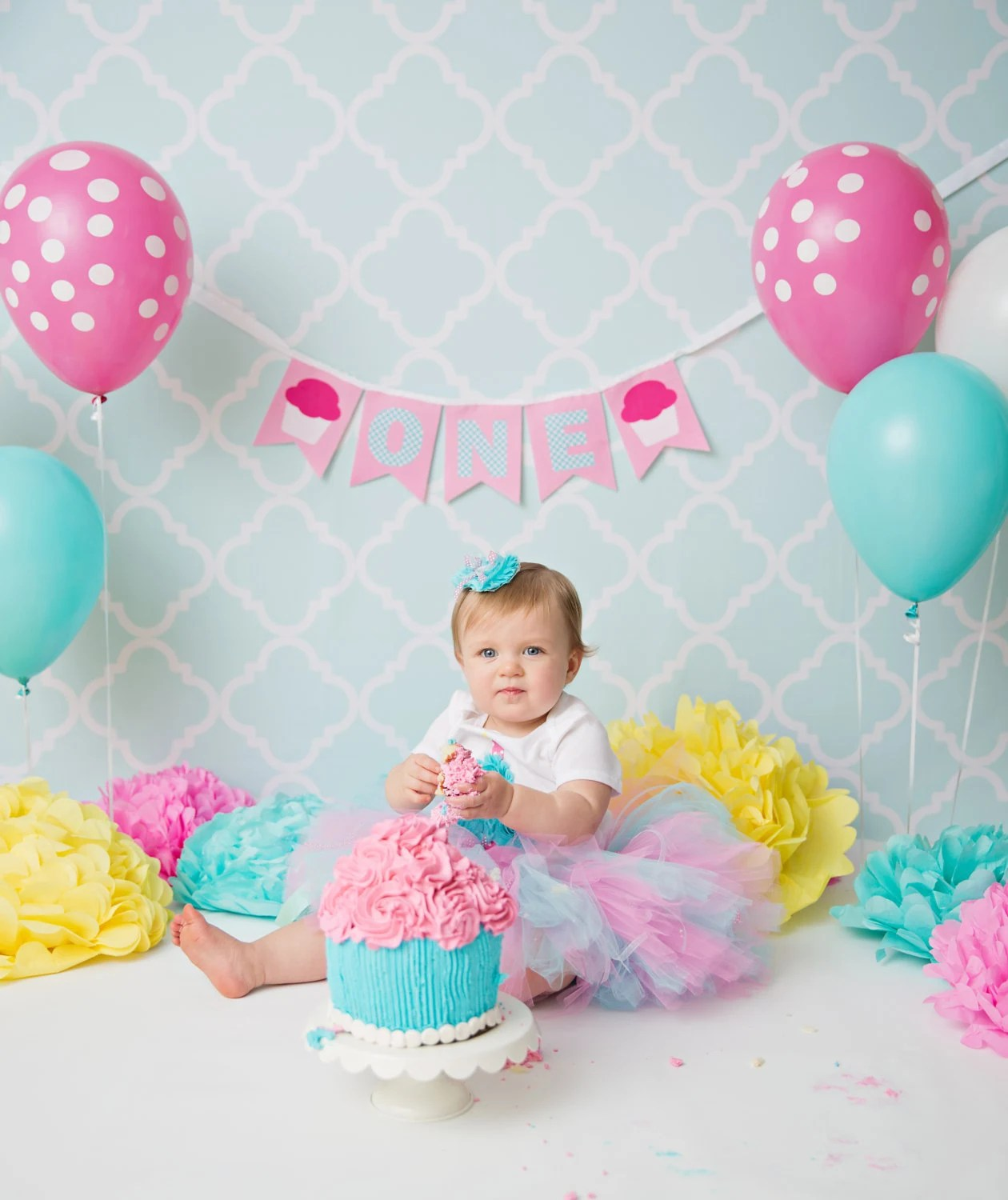 1st BIRTHDAY BANNER / 1st birthday girl / First birthday girl / ONE - first birthday banner