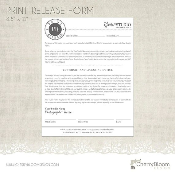 Print Release Form Template for Photographers Photographer - photo copyright release forms