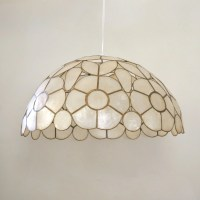 Mid Century Capiz Shell Lamp Shade / Swag light Hanging Dome