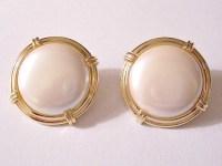 Monet Pearl Moon Button Clip On Earrings by