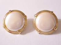 Monet Pearl Moon Button Clip On Earrings by ...