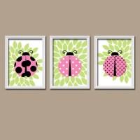 Ladybug Wall Art Ladybug Nursery Artwork Baby Girl Nursery