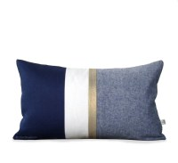 Metallic Gold Stripe Pillow Cover in Navy and Cream Modern