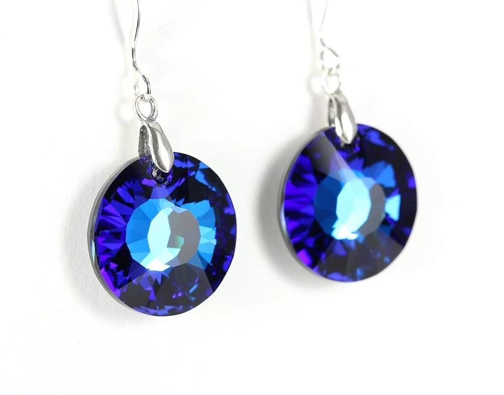 Bermuda blue crystal sun earrings