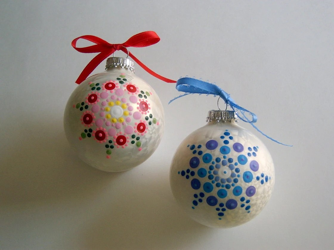 Hand Painted Glass Christmas Tree Ornament Holiday Decor