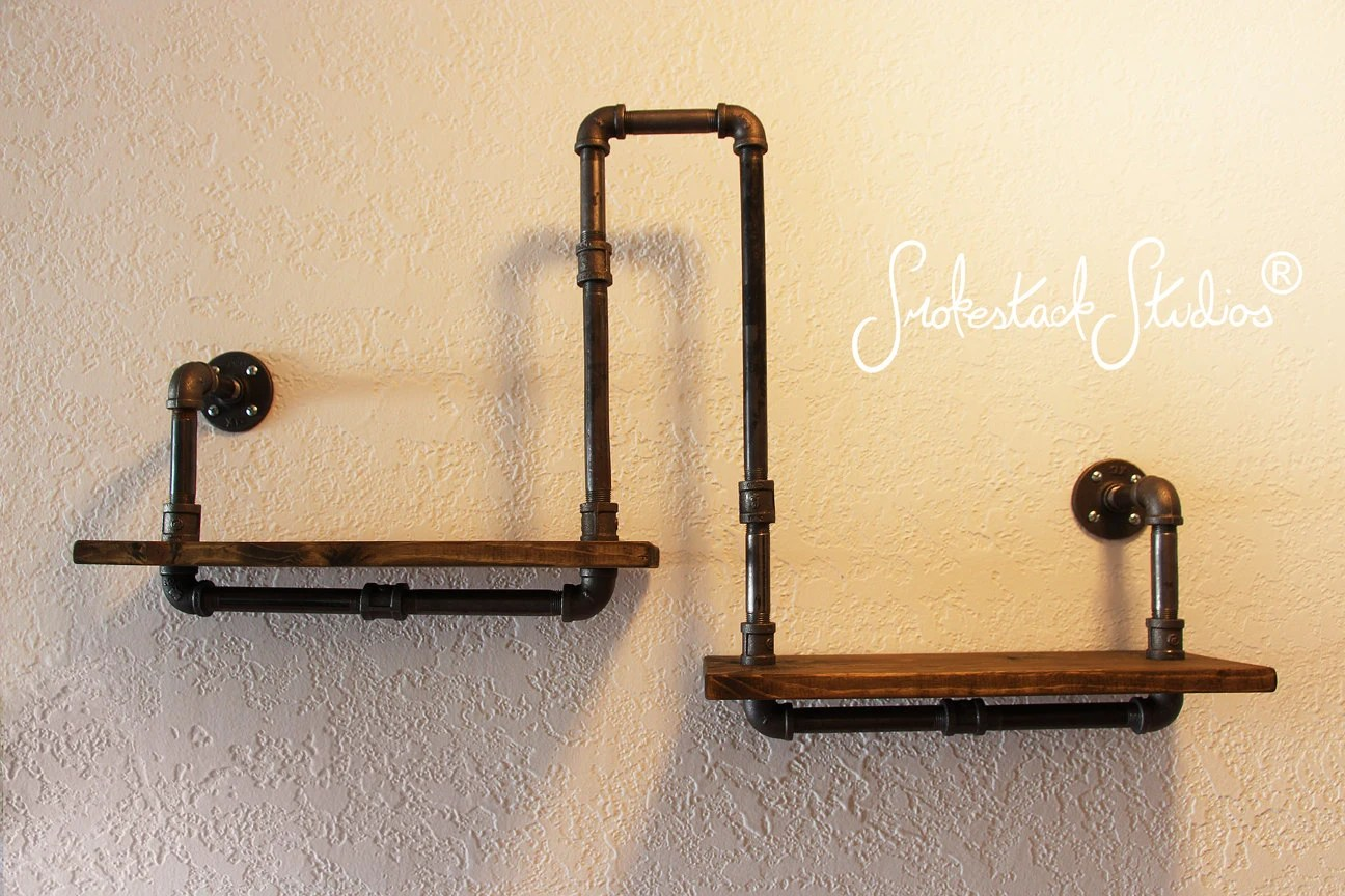 Steampunk Wall Shelves Pipe Shelf Wall Or Corner Industrial Chic Rustic