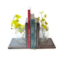 Mason Jar Bookends CHOOSE YOUR COLOR Rustic Wood by ...