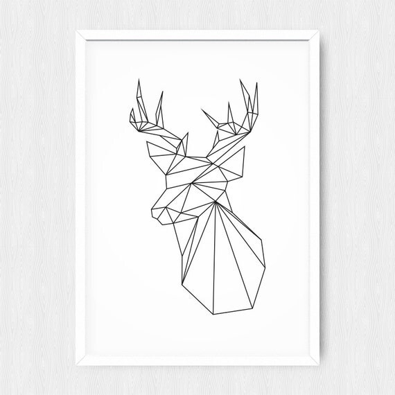Items similar to Geometric Deer, Black Deer, Geometric Animal - permission forms template