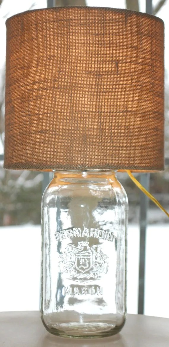 Mason Jar Lamp with Burlap Shade