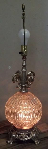 Vintage Regency Table Lamp / Crystal Globe Lamp by ...
