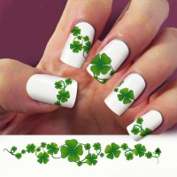 Items similar to Four Leaf Clover nail decal, Clover nail