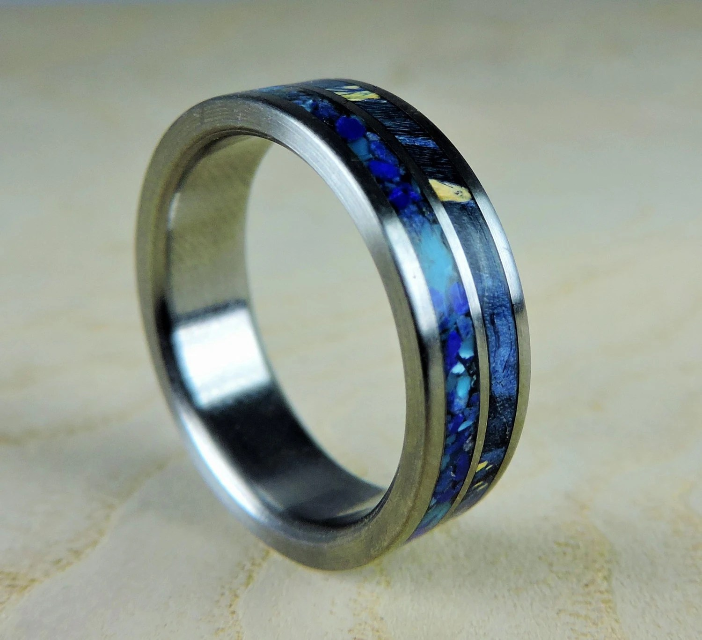 titanium wedding ring blue wood and mens titanium wedding rings Titanium Ring Mens zoom