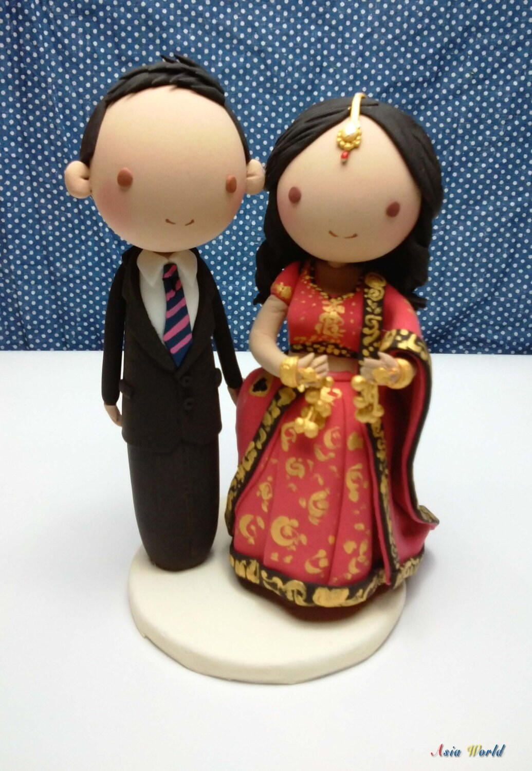 indian cake topper wedding ring cake topper Wedding cake topper bride in Indian traditional wedding costume clay doll engagement clay miniature clay figurine decoration ring holder