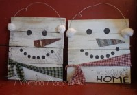 Snowman Pallet Wood Sign Door Hanger Christmas Decor Winter